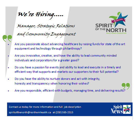 We're Hiring - Manager, Strategic Relations and Community Engagement